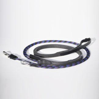 Schlaufzügel Leder schwarz, Grip schwarz, Seile lila